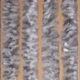 Kattenstaart vliegengordijn grijs-wit gemeleerd