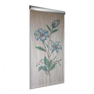 DEGOR Vliegengordijn aluminium bloem blauw